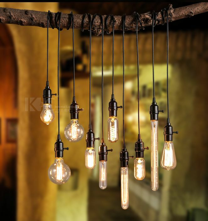 Retro industrial diy black ceiling lamp pendant lighting for Diy edison light fixtures