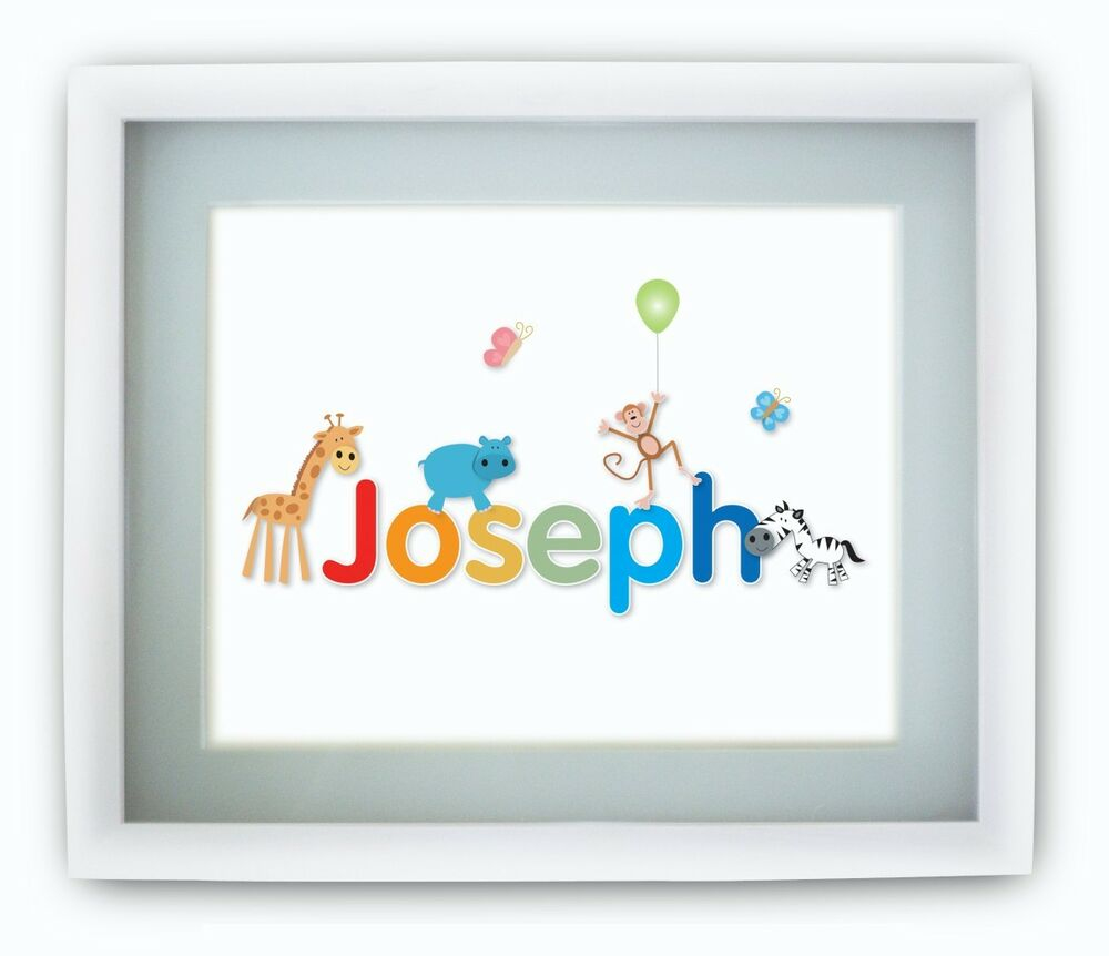 Unique New Baby Gifts Uk : Personalised childrens babies jungle name picture print