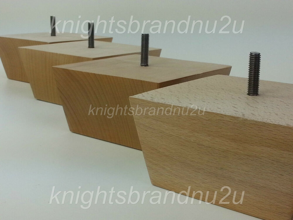 4x Solid Wood Furniture Feet Legs For Sofas Chairs Stools Cabinets Beds M8 Ebay