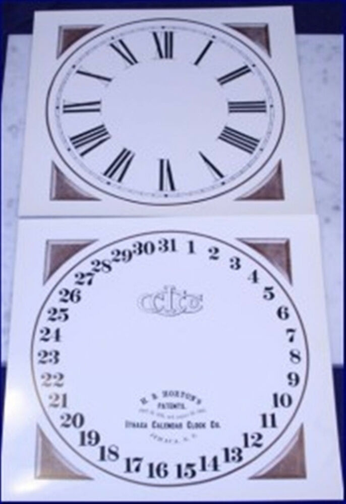 ithaca calendar clock replacement dials for the early farmer 10 old stock gloss ebay. Black Bedroom Furniture Sets. Home Design Ideas