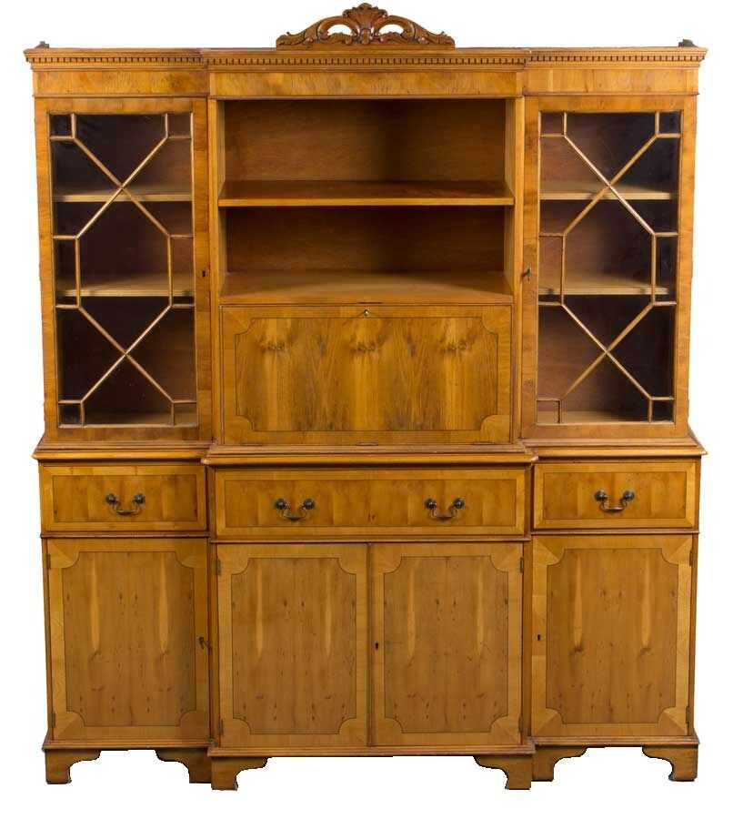 Ebay Bar Furniture: Antique Style Yew Wood Breakfront Bookcase With Cocktail