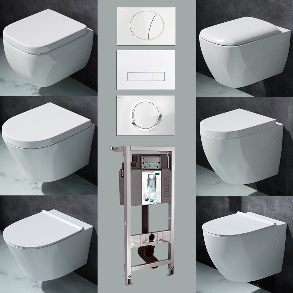 vorwandelement wand h nge wc set toilette softclose deckel sp lkasten ebay. Black Bedroom Furniture Sets. Home Design Ideas
