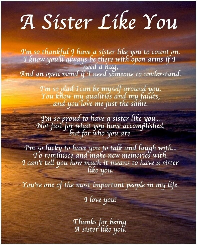 Personalised A Sister Like You Poem Birthday Christmas ...