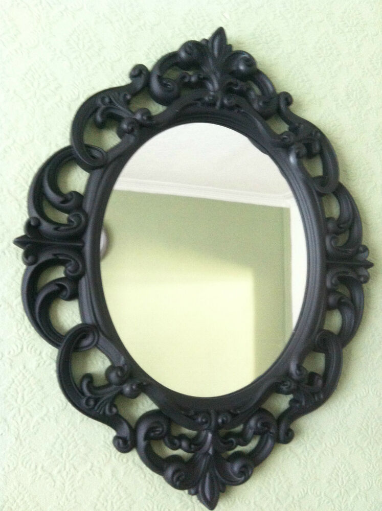 oval ornate wall mirror bathroom room hallway 13867
