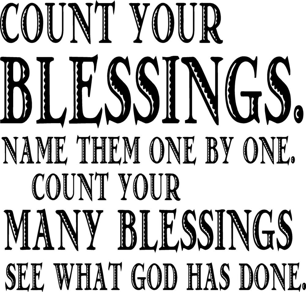 Quotes About Counting Your Blessings: Count Your Blessings Bible Quote Wall Vinyl Decal
