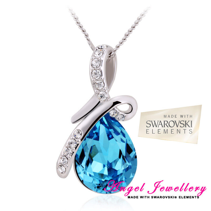 Eternity Teardrop Pendant Swarovski Elements Light Blue ...