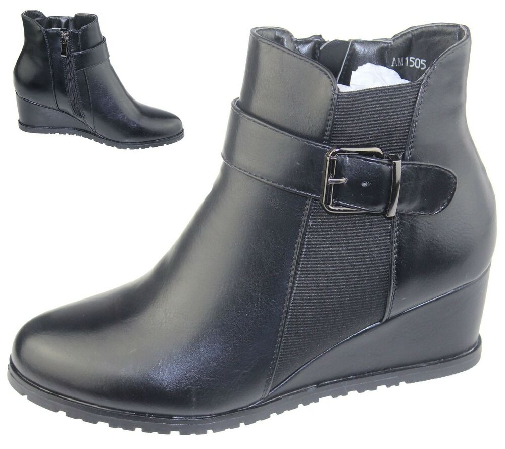 womens wedge heel winter high top boots ankle army