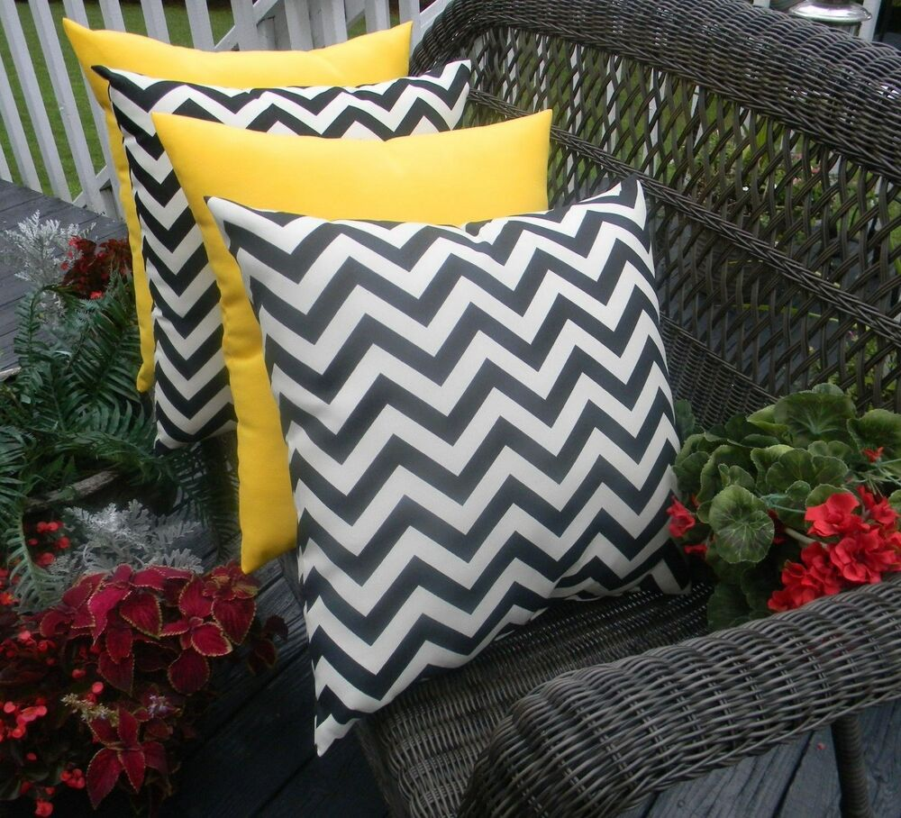4 Pack Black Chevron Yellow Decorative Toss Pillows Indoor Outdoor Made In USA eBay