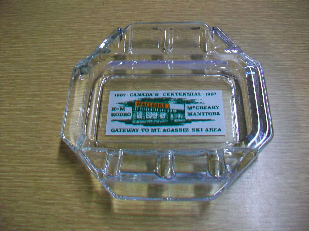 Details about Vintage Advertising Glass Ashtray Canada's Centennial K-M  Rodeo Mt. Agassiz Ski