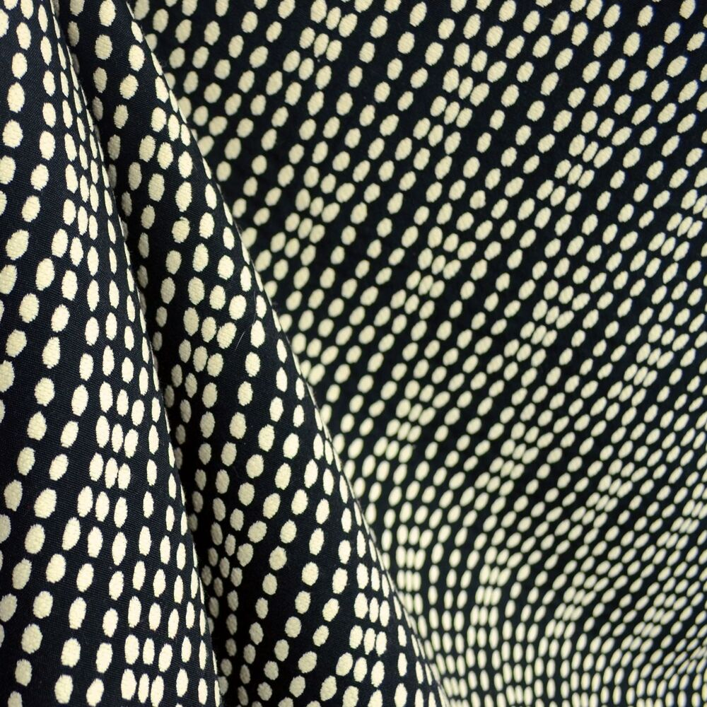 Strands tuxedo polka dot wavy black white fabric ebay for Black fabric