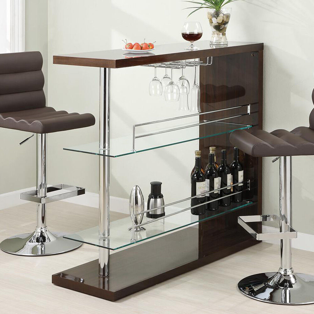 Modern Pub Home Bar Table Unit W/ Glass Shelves Wine Rack