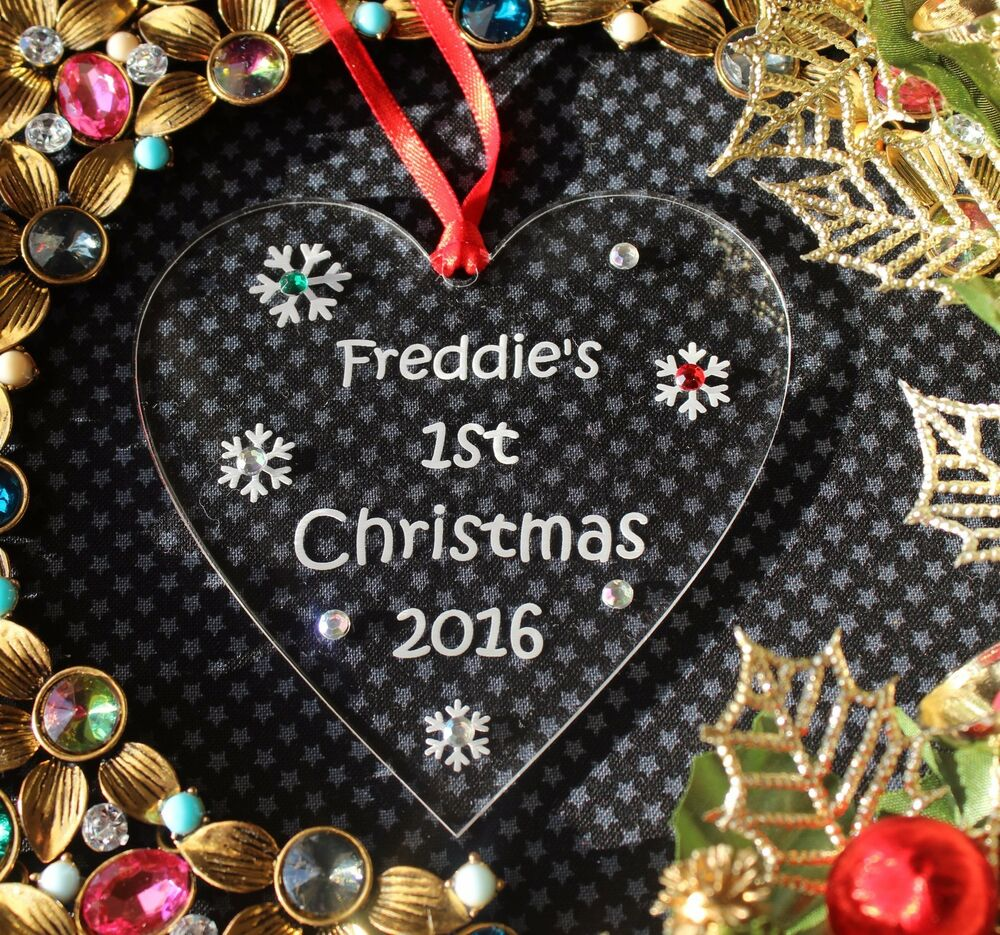 Personalised baby 39 s first 1st christmas tree decoration for Baby christmas tree decoration
