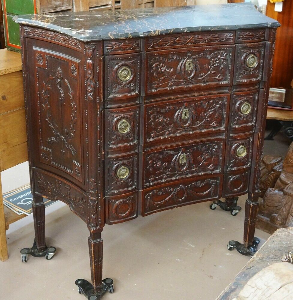 Antique English Carved Fruitwood Marble Top Commode. Outdoor Sofa Table. 7 Drawer Lingerie Chest. Console Table Under $100. Butcher Table