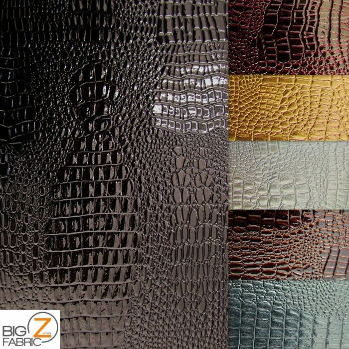 Vinyl Pleather Embossed Shiny Amazon Crocodile Fabric By