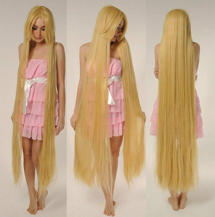 Tangled Rapunze Super 150cm Long Wig Straight Blonde