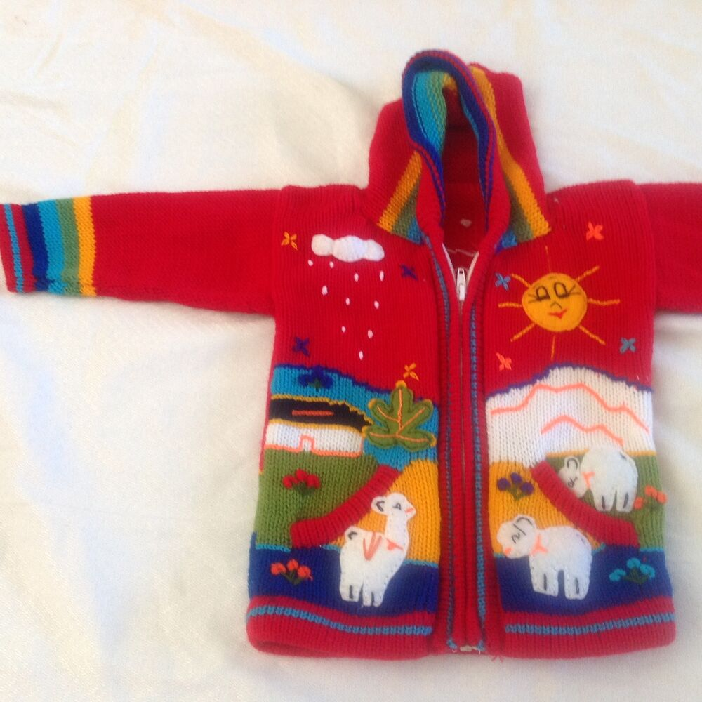 eb2a870256b12 Details about Hand knitted Alpaca Wool Children Sweaters with 3D designs