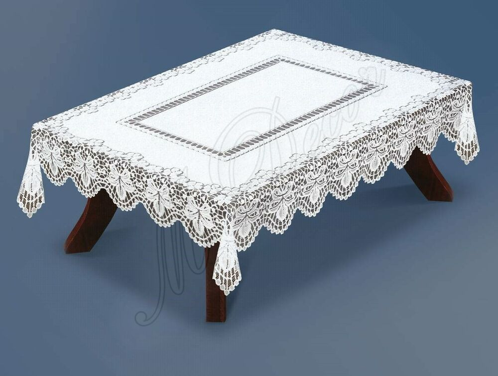 Rectangular WHITE lace Tablecloth NEW four different  : s l1000 from ebay.co.uk size 1000 x 755 jpeg 93kB