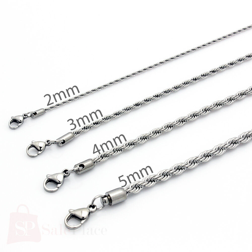 20 24 mens stainless steel silver rope twist chain. Black Bedroom Furniture Sets. Home Design Ideas