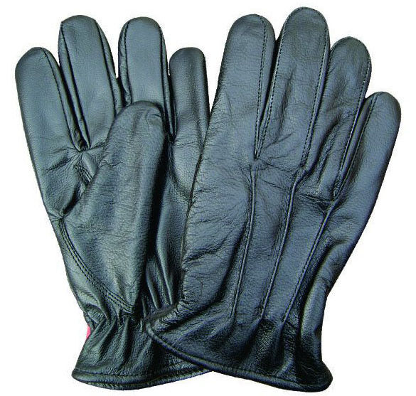 Womens Black Lined Leather Driving Gloves w Elastic Wrist ...