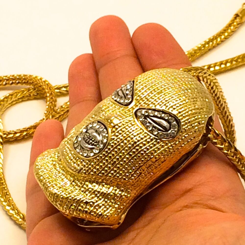 Mens Hip Hop Iced Out Gold Goon Ski Mask Pendant W 36