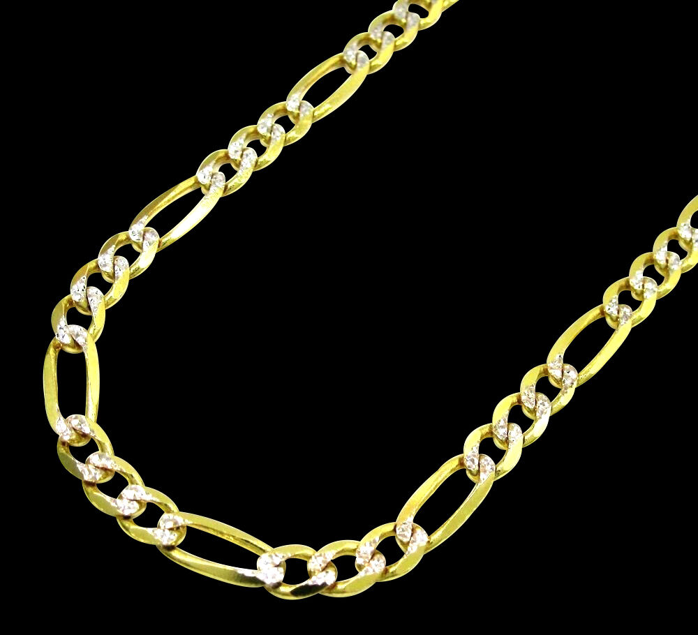 5 5mm yellow gold 10 kt figaro style diamond cut necklace. Black Bedroom Furniture Sets. Home Design Ideas