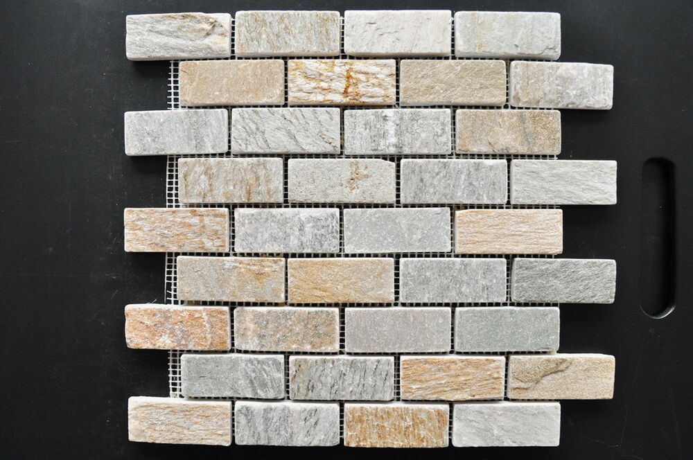 quarzit mosaik naturstein verblender klinker bricks beige bad fliesen wand bode ebay. Black Bedroom Furniture Sets. Home Design Ideas