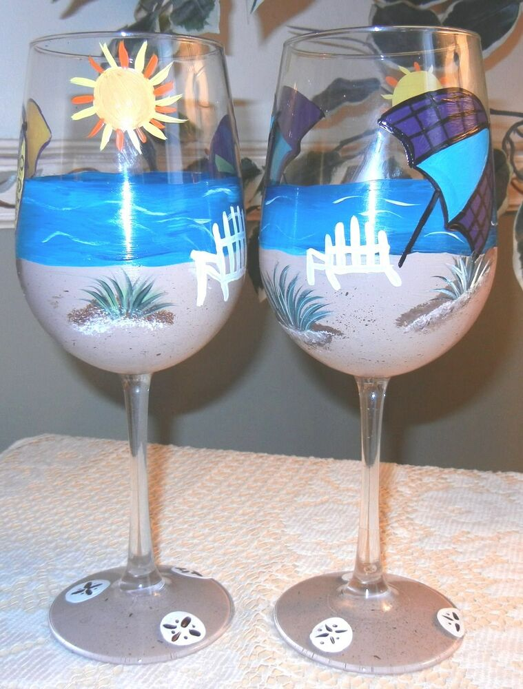 2 hand painted beach wine glasses ebay for Painted wine glasses