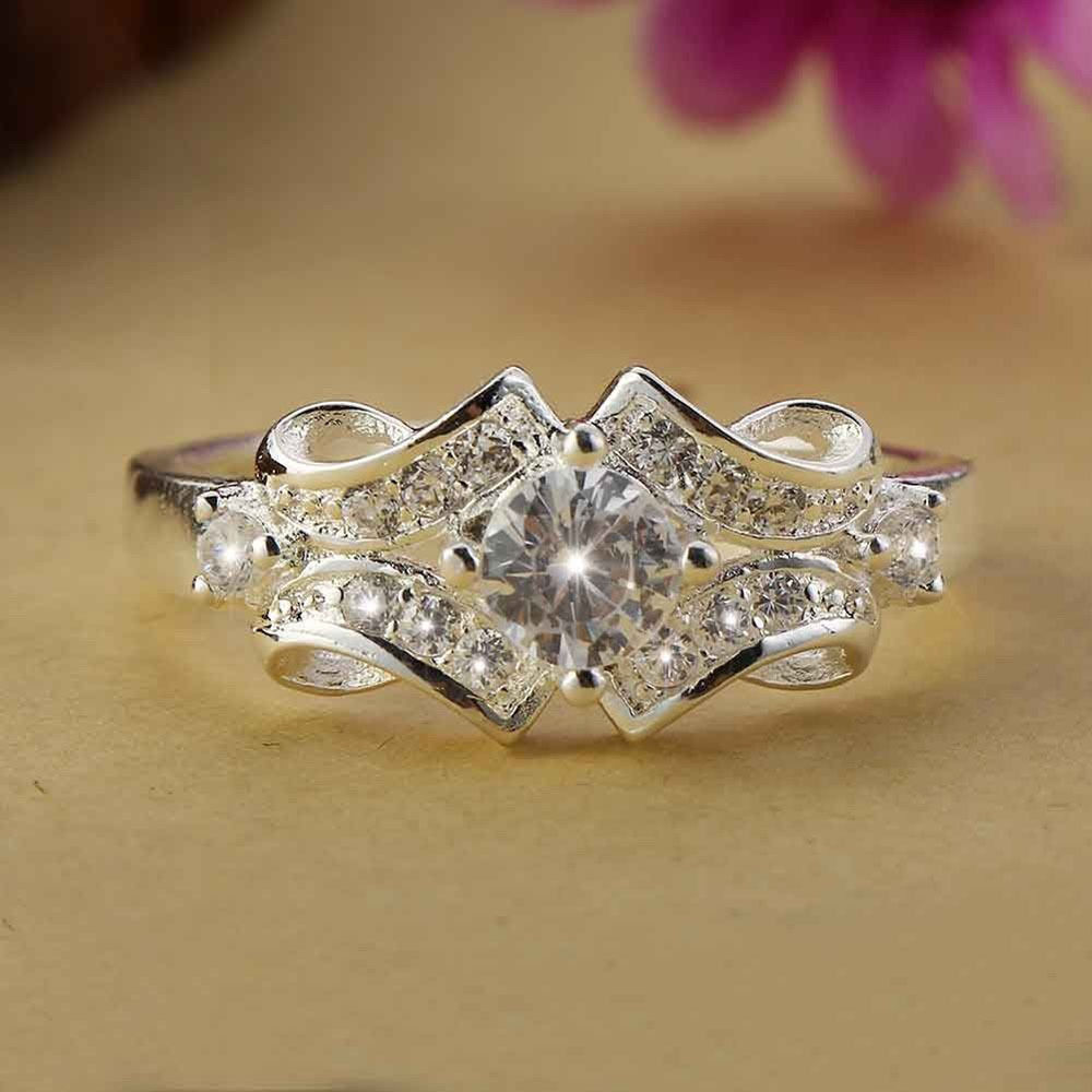 925 sterling silver swarovski crystal wedding engagement With crystal wedding ring