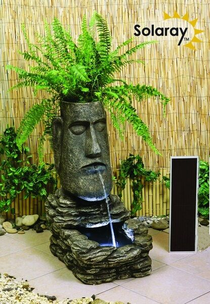 Easter Island Head Solar Water Fountain And Planter With