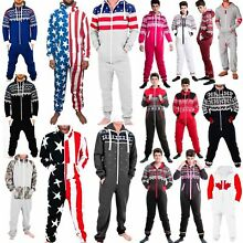 Adults Mens Non Footed Jumpsuit one Piece Pajamas Zipper Hoodie Playsuit