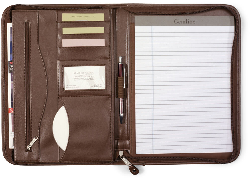 Gemline Deluxe Executive Vintage Brown Leather Zippered