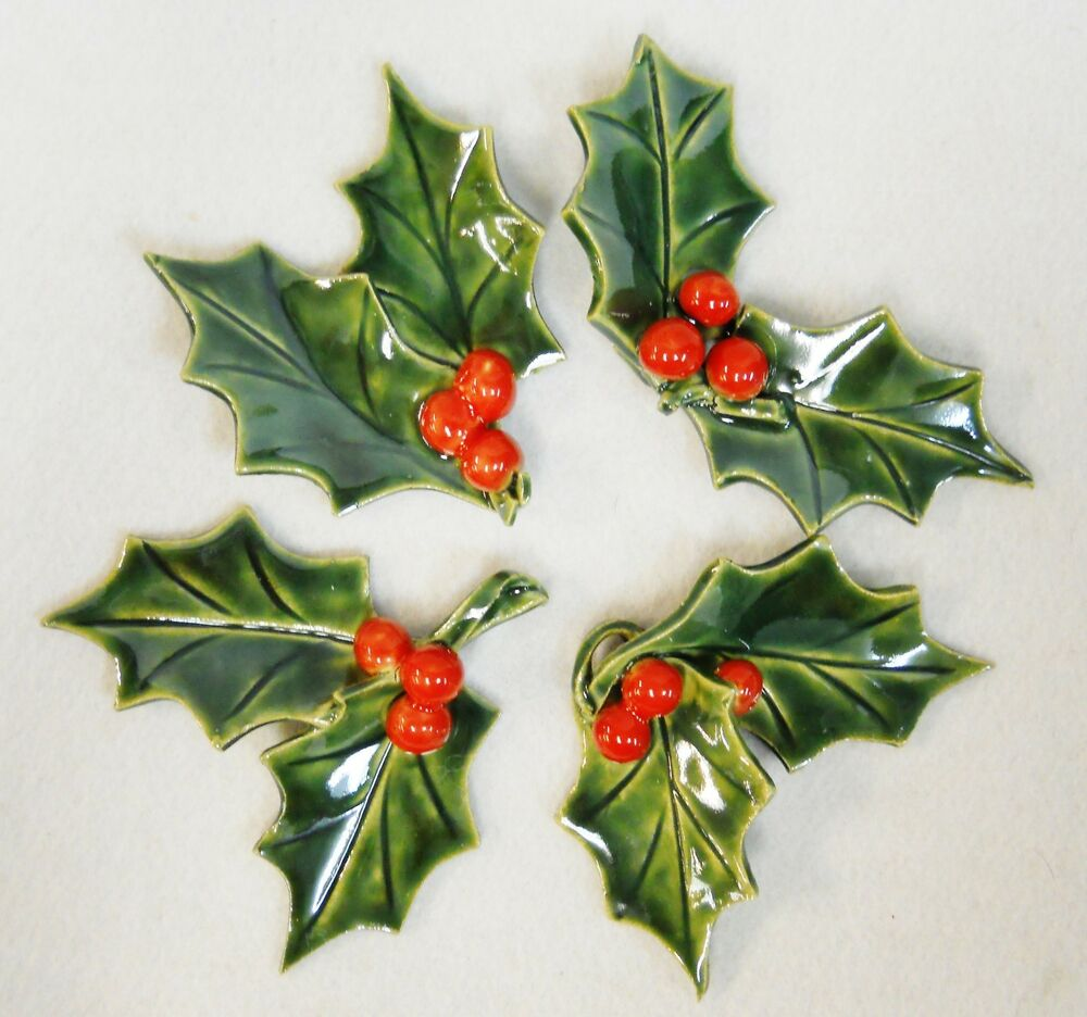 Ceramic Holly Leaf and Berry Sprig Green - Red Holiday ...