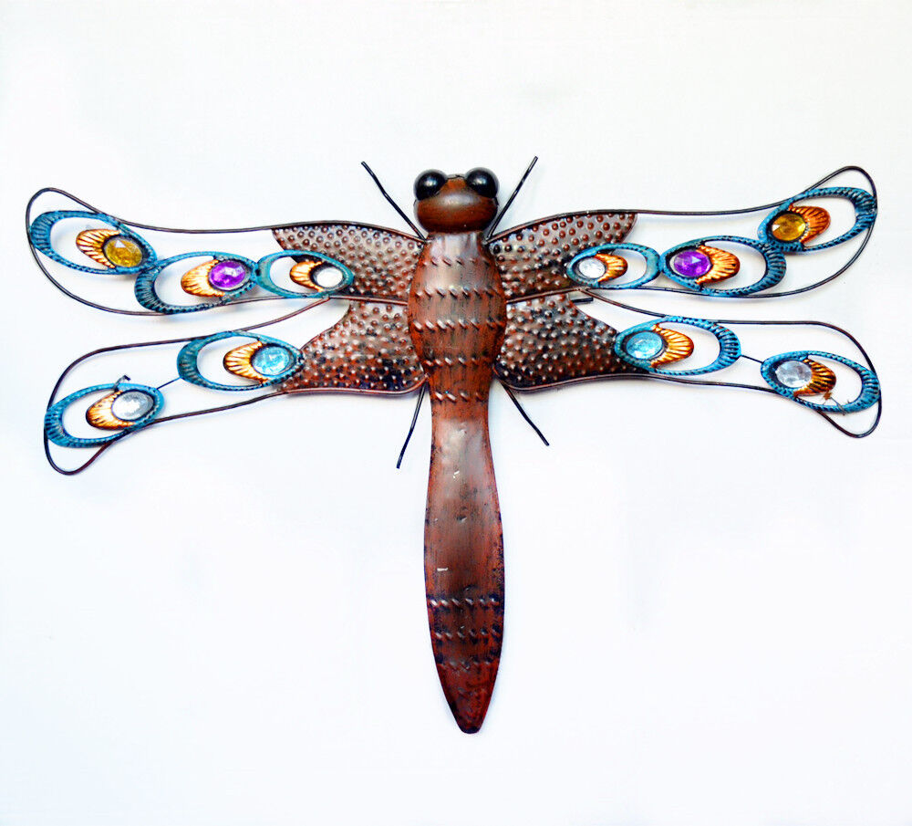 Outdoor Wall Decor Dragonfly : Metal dragonfly wall art garden sculpture
