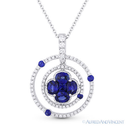 1 29 ct sapphire 18k white gold circle flower
