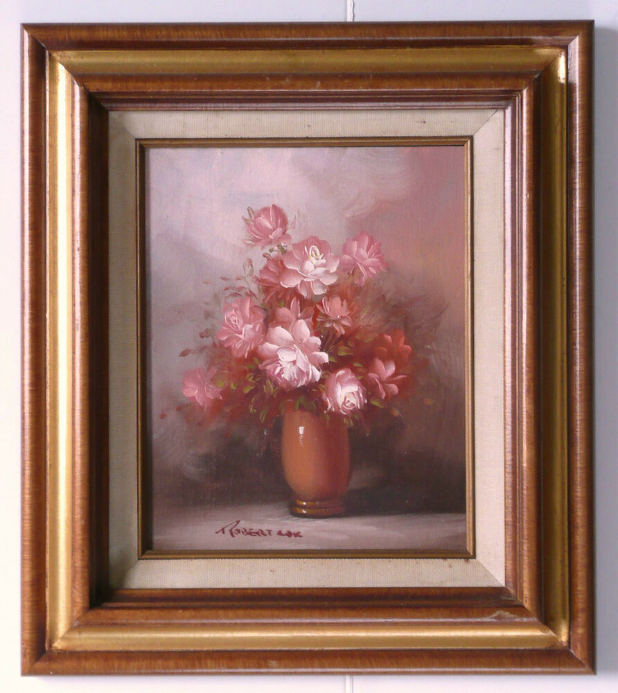 Robert Cox 1934 2001 Original Oil Painting Flowers Pink