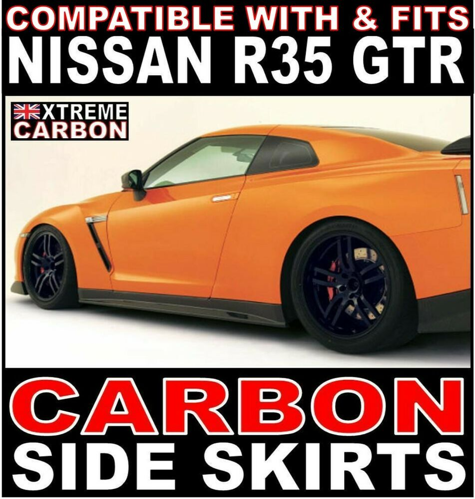 nissan r35 gtr carbon side skirts set skyline ebay. Black Bedroom Furniture Sets. Home Design Ideas
