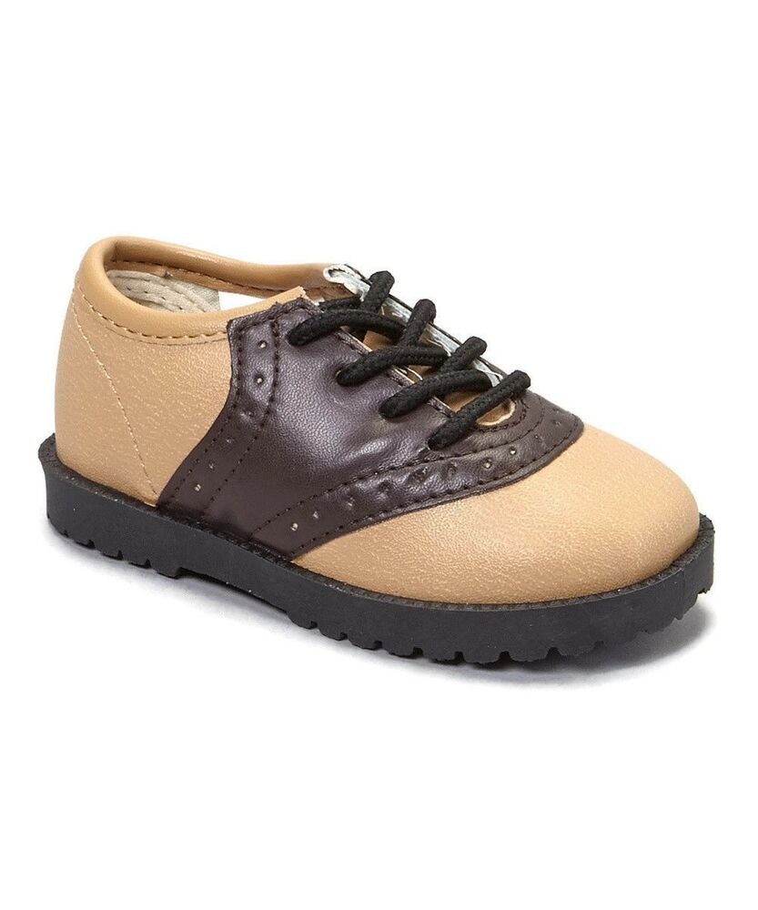 Pitter Patter Brown Beige Saddle Shoes Laces Infant