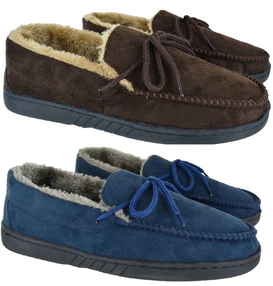 MENS GENTS REAL LEATHER SUEDE MOCCASIN WINTER FLAT BLACK
