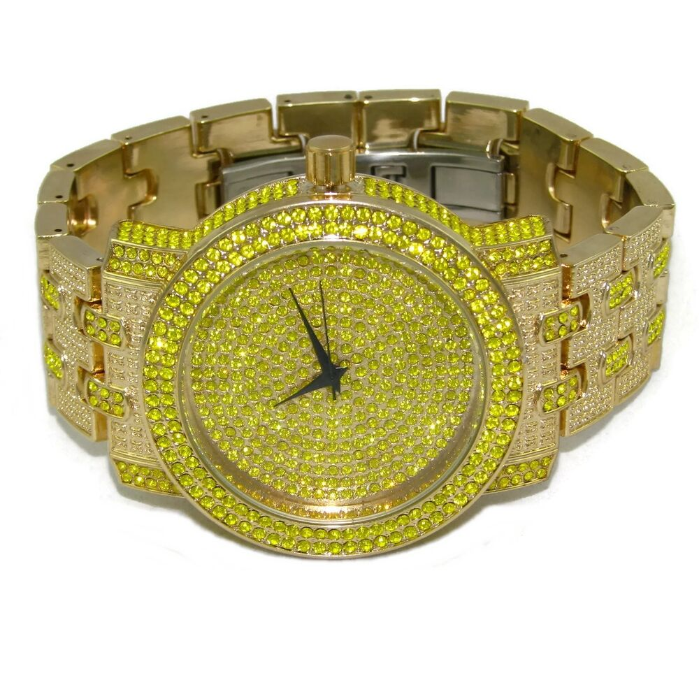 Canary yellow iced out watch gold finish hip hop lemonade for Rapper watches