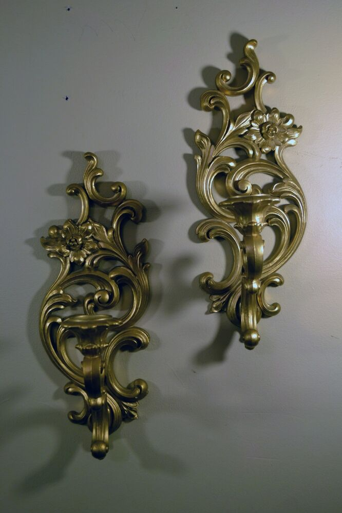 Gold Candle Wall Lights : 2 Vintage Syroco Wall Sconce Candle Holders Pair of Hollywood Regency Gold Color eBay