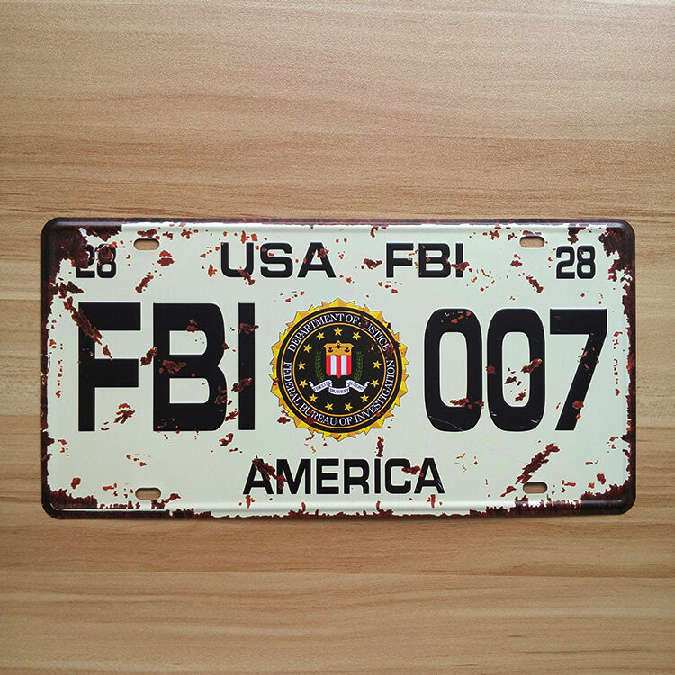 decorative novelty license plate tin sign fbi usa. Black Bedroom Furniture Sets. Home Design Ideas