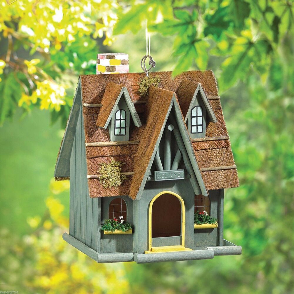 Birdhouse Thatch Roof Wood Cottage Chimney Bird House