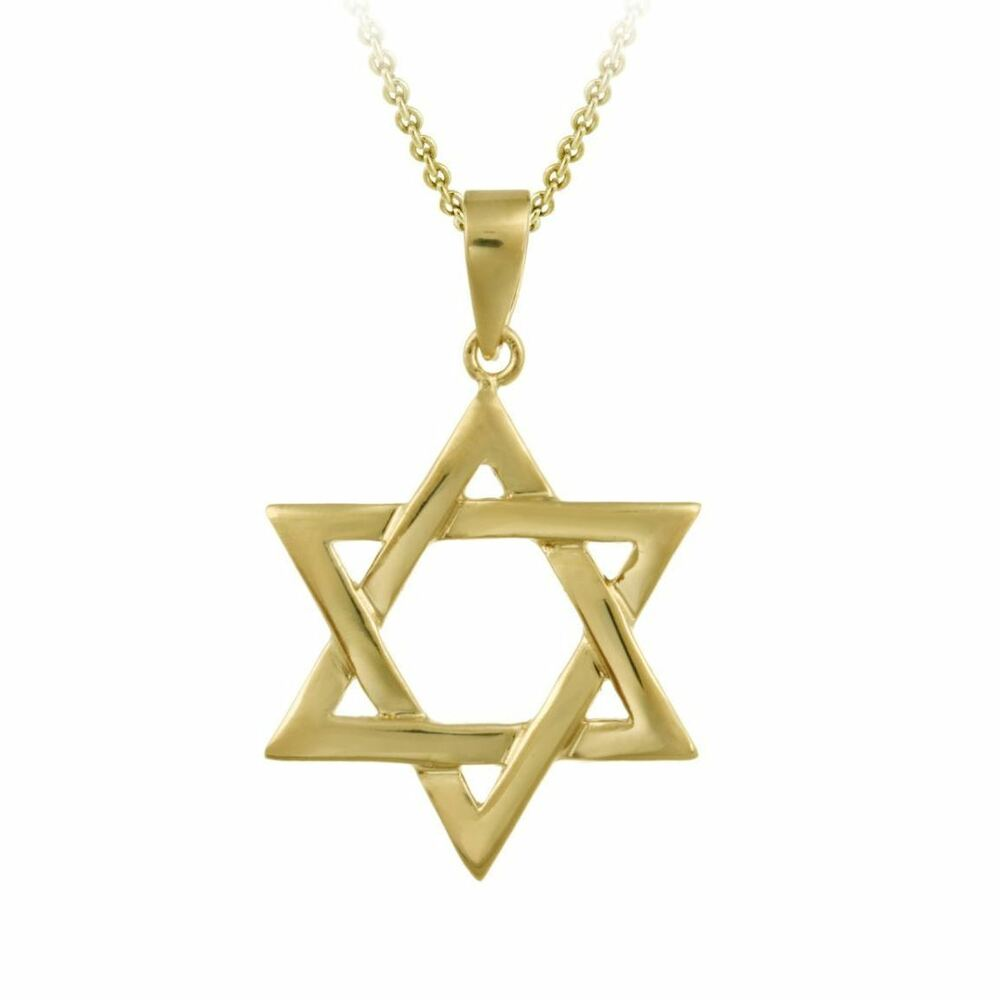 18k gold plated star of david pendant necklace 17 to 20 for Star of david necklace mens jewelry