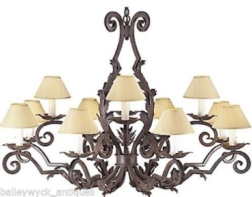 Wrought Iron 12 Light Chandelier By Arte De Mexico Ebay