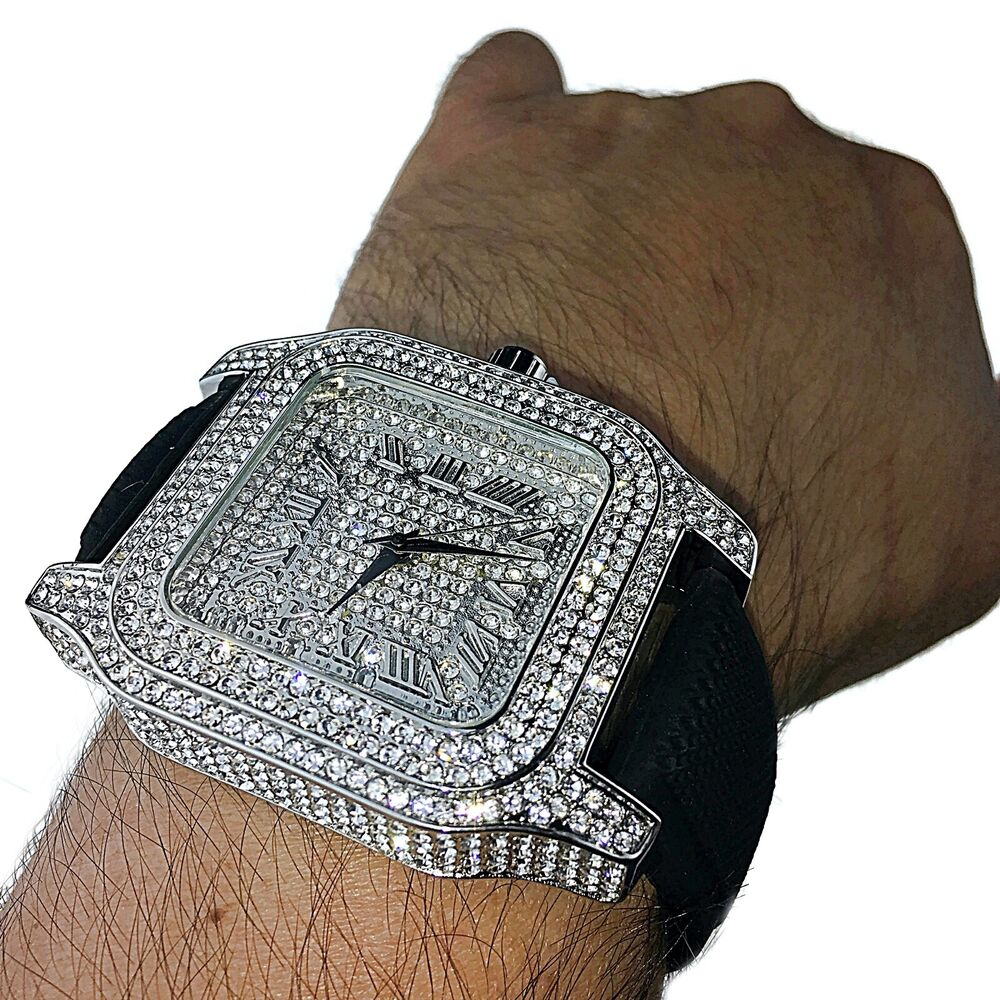 Iced-Out Watch Mens Roman Numerals Silver Tone Bling