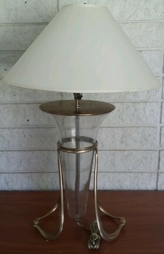 Table Lamp With Shade Brass Base Cone Shape Body Glass Art