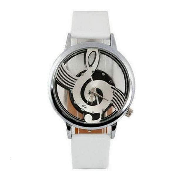 Treble Clef Music Note Watch White Leather PU Strap