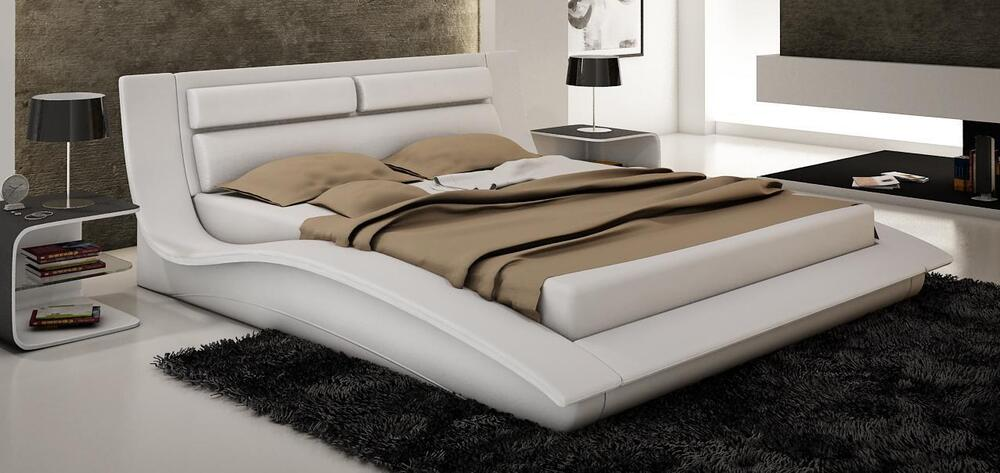 Wave King Size Modern Design White Leather Platform Bed