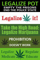 FIVE Legalize Marijuana Bumper Stickers
