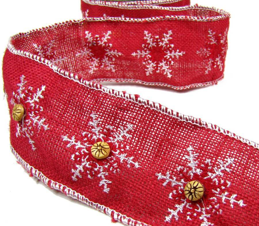 1 yd christmas red burlap jute button snowflake wired for How to use burlap ribbon